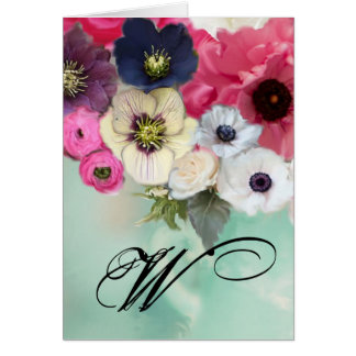WHITE PINK ROSES AND ANEMONE FLOWERS MONOGRAM GREETING CARD