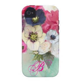 WHITE PINK ROSES AND ANEMONE FLOWERS MONOGRAM iPhone 4/4S COVERS