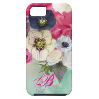 WHITE PINK ROSES AND ANEMONE FLOWERS MONOGRAM iPhone 5 CASE