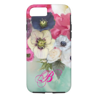 WHITE PINK ROSES AND ANEMONE FLOWERS MONOGRAM iPhone 7 CASE