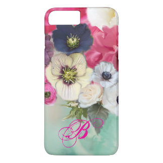 WHITE PINK ROSES AND ANEMONE FLOWERS MONOGRAM iPhone 7 PLUS CASE