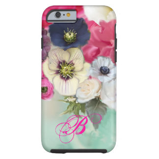 WHITE PINK ROSES AND ANEMONE FLOWERS MONOGRAM TOUGH iPhone 6 CASE