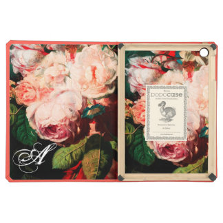 WHITE PINK ROSES AND MORNING GLORY MONOGRAM iPad AIR CASES
