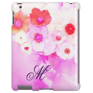 WHITE PINK ROSES, RED ANEMONE FLOWERS MONOGRAM iPad CASE