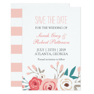 White Pink Roses Wedding Save The Date Card