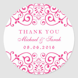 White Pink Swirl Floral Couples Shower Stickers