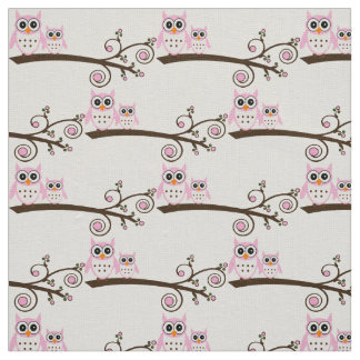 White & Pink Theme Owl Fabric