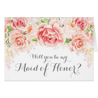 White Pink Watercolor Maid of Honour Invite