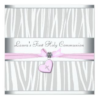 White Pink Zebra Heart Pink Cross First Communion 13 Cm X 13 Cm Square Invitation Card