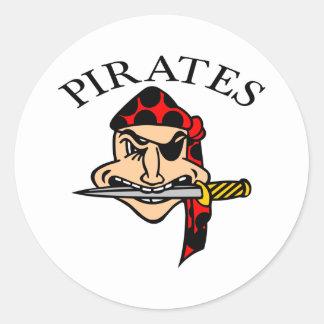 White Pirates Cartoon Round Sticker