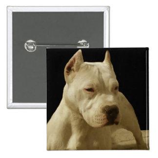 White pitbull 15 cm square badge