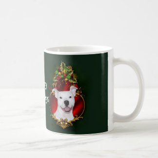 White pitbull Christmas Coffee Mug