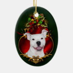 White pitbull Christmas Double-Sided Oval Ceramic Christmas Ornament