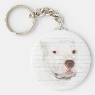 White pitbull face key ring