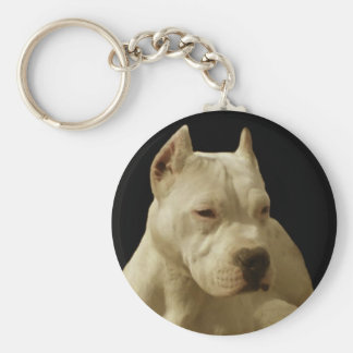 White pitbull keychain