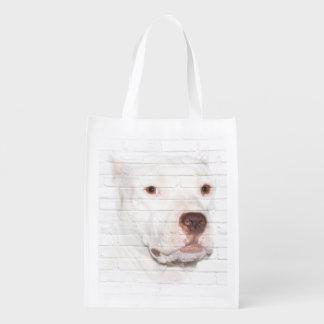 White pitbull terrier face reusable grocery bag