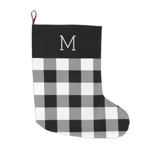 White Plaid Monogrammed Christmas Stocking
