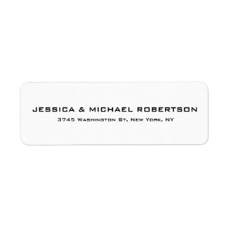 White Plain Elegant Modern Trendy Family Return Address Label