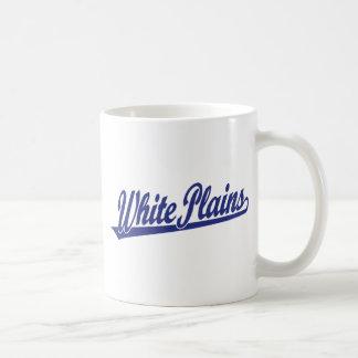 White Plains script logo in blue Mug