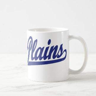 White Plains script logo in blue Coffee Mugs