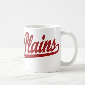 White Plains script logo in red Mug