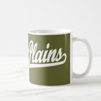 White Plains script logo in white Coffee Mugs
