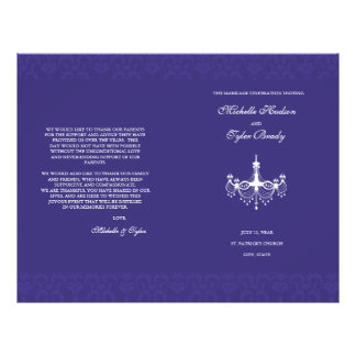 White & Plum Chandalier wedding program half fold 21.5 Cm X 28 Cm Flyer