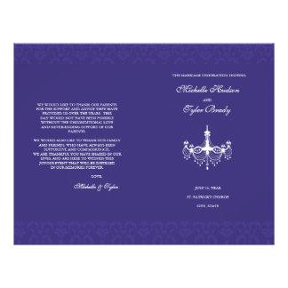 White & Plum Chandalier wedding program half fold Flyer