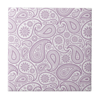 White & Plum Purple Vintage Paisley Tile