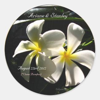 White Plumaria Tropical Flowers Envelope Seals Round Sticker