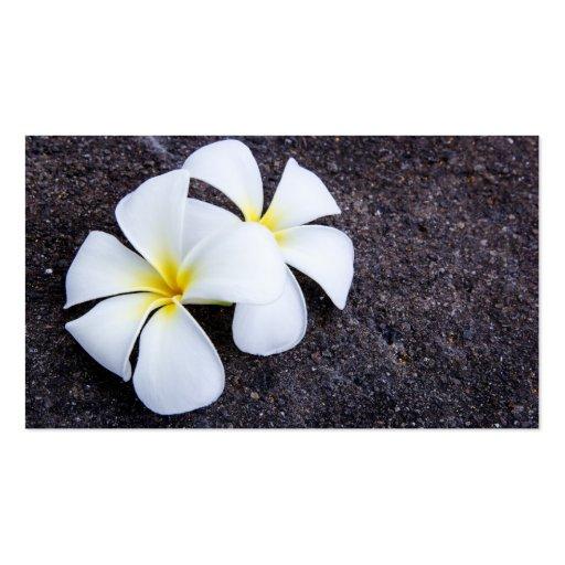White Plumeria Flower Frangipani Floral Lava Rock Business Card Templates