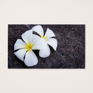 White Plumeria Flower Frangipani Floral Lava Rock Business Card