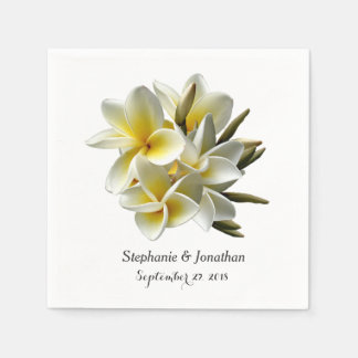 White Plumeria Flowers Tropical Wedding Napkin Disposable Napkin