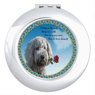 White poddle dog puppy with a red rose Dog Quote Travel Mirror