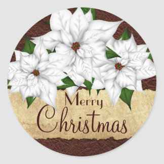 White Poinsettia Christmas Holiday Classic Round Sticker