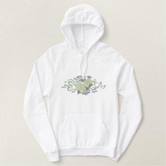 White Poinsettia Embroidered Hoodie