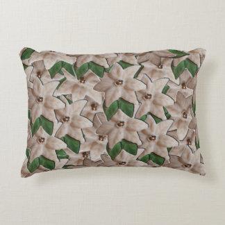 White Poinsettia Flowers Decorative Cushion