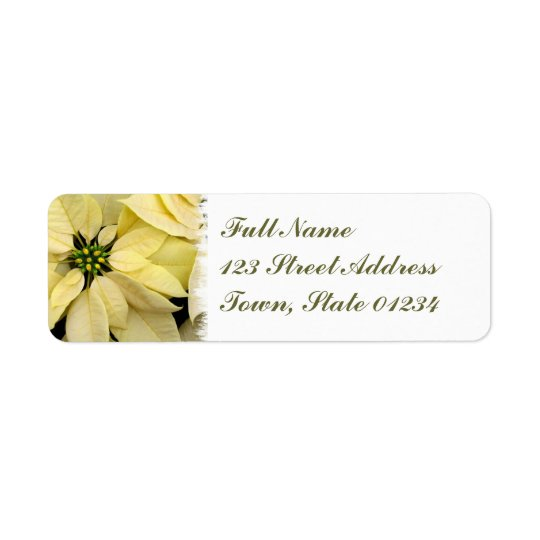 White Poinsettia  Mailing Label Return Address Label