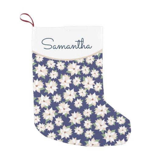 White Poinsettia on Dark Blue Christmas Small Christmas Stocking