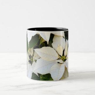 White Poinsettias Two-Tone Coffee Mug