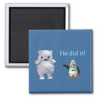 White Polar Bear and Bad Penguin Square Magnet