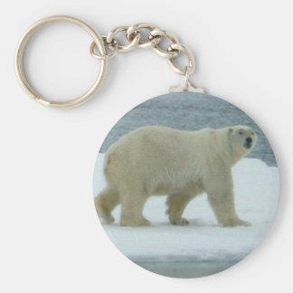 White Polar Bear Basic Round Button Key Ring