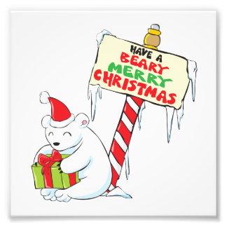 White Polar Bear Christmas Custom Invitation Stamp Photo