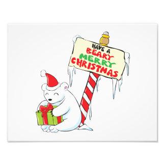 White Polar Bear Christmas North Pole Custom Cards Photograph