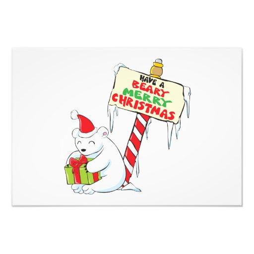 White Polar Bear Christmas North Pole Custom Cards Art Photo