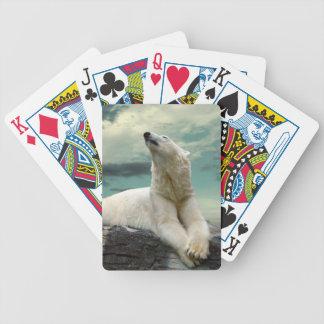 White Polar Bear Hunter on rock Bicycle Playing Cards