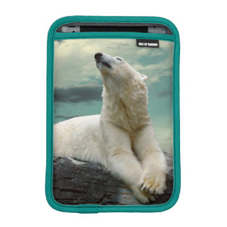 White Polar Bear Hunter on rock iPad Mini Sleeve