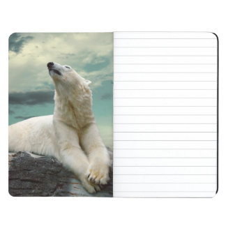 White Polar Bear Hunter on rock Journals