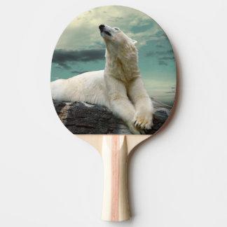White Polar Bear Hunter on rock Ping Pong Paddle