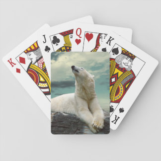 White Polar Bear Hunter on rock Poker Deck
